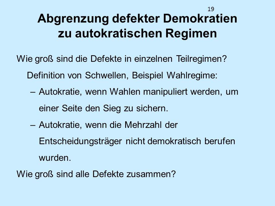 19 Abgrenzung defekter Demokratien zu autokratischen Regimen Wie groß sind die Defekte in einzelnen Teilregimen? Definition von Schwellen, Beispiel Wa