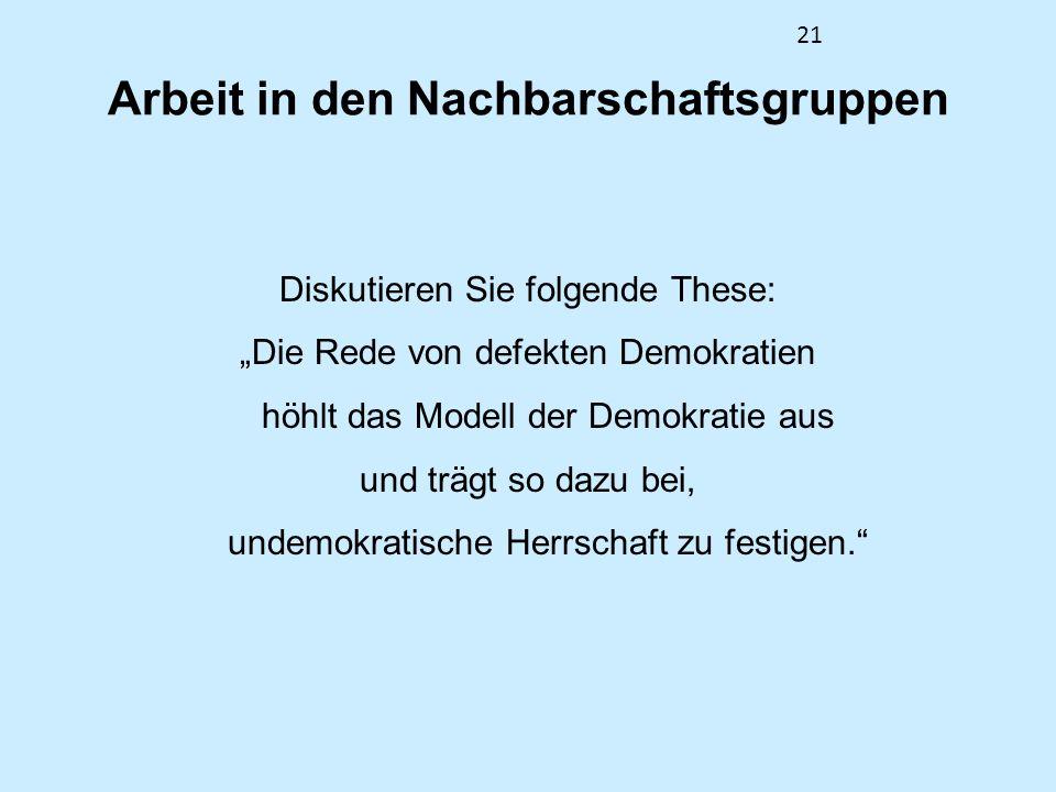 21 Arbeit in den Nachbarschaftsgruppen Diskutieren Sie folgende These: Die Rede von defekten Demokratien höhlt das Modell der Demokratie aus und trägt so dazu bei, undemokratische Herrschaft zu festigen.