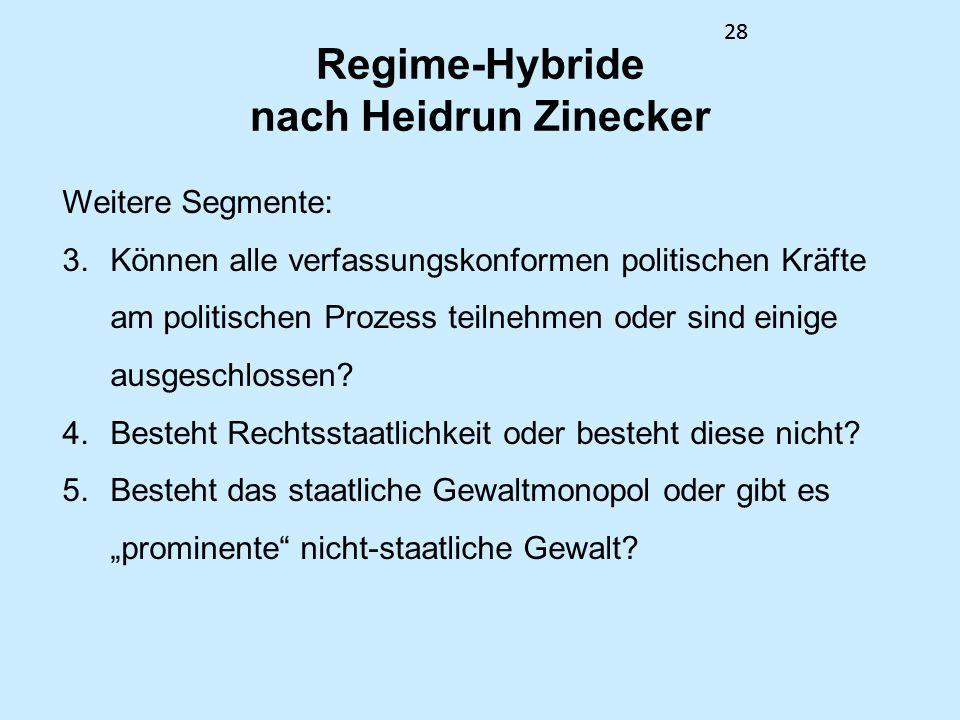 28 Regime-Hybride nach Heidrun Zinecker Weitere Segmente: 3.Können alle verfassungskonformen politischen Kräfte am politischen Prozess teilnehmen oder sind einige ausgeschlossen.