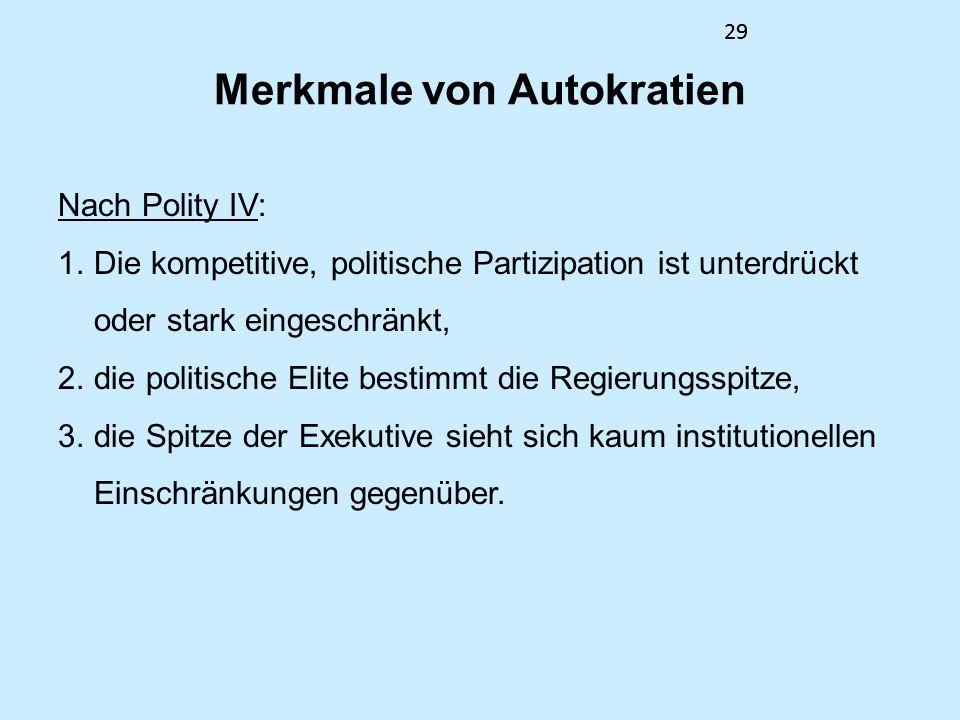 29 Merkmale von Autokratien Nach Polity IV: 1.Die kompetitive, politische Partizipation ist unterdrückt oder stark eingeschränkt, 2.die politische Elite bestimmt die Regierungsspitze, 3.die Spitze der Exekutive sieht sich kaum institutionellen Einschränkungen gegenüber.