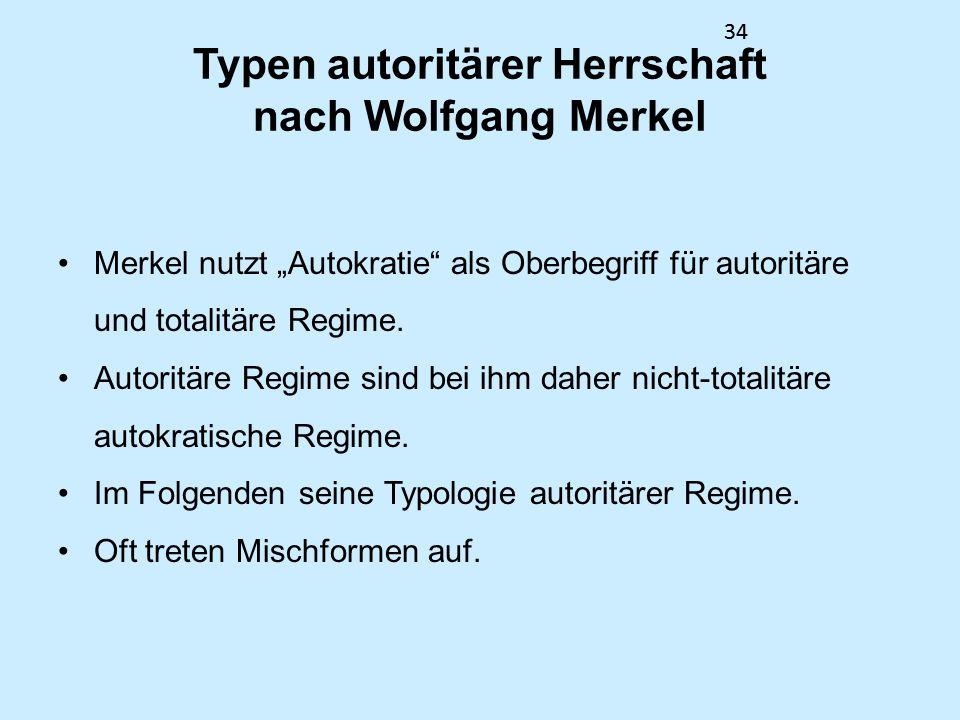 34 Typen autoritärer Herrschaft nach Wolfgang Merkel Merkel nutzt Autokratie als Oberbegriff für autoritäre und totalitäre Regime. Autoritäre Regime s