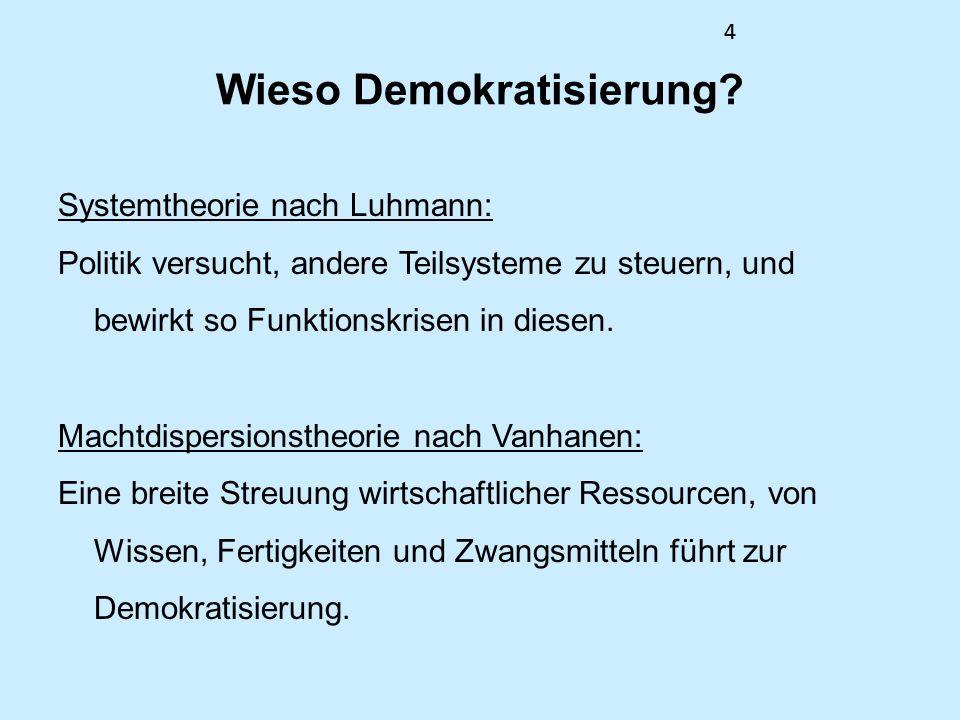 44 Wieso Demokratisierung? Systemtheorie nach Luhmann: Politik versucht, andere Teilsysteme zu steuern, und bewirkt so Funktionskrisen in diesen. Mach