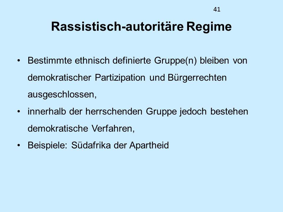 41 Rassistisch-autoritäre Regime Bestimmte ethnisch definierte Gruppe(n) bleiben von demokratischer Partizipation und Bürgerrechten ausgeschlossen, in