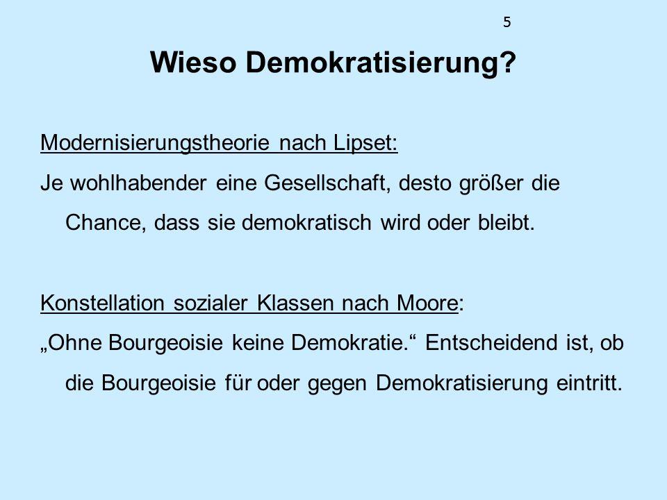 5 Wieso Demokratisierung? Modernisierungstheorie nach Lipset: Je wohlhabender eine Gesellschaft, desto größer die Chance, dass sie demokratisch wird o