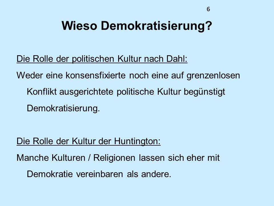 6 Wieso Demokratisierung? Die Rolle der politischen Kultur nach Dahl: Weder eine konsensfixierte noch eine auf grenzenlosen Konflikt ausgerichtete pol