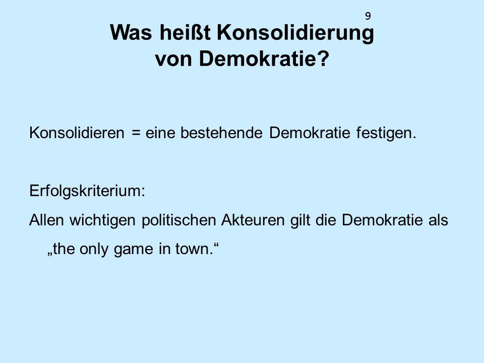 9 Was heißt Konsolidierung von Demokratie? Konsolidieren = eine bestehende Demokratie festigen. Erfolgskriterium: Allen wichtigen politischen Akteuren