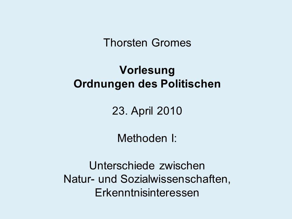Thorsten Gromes Vorlesung Ordnungen des Politischen 23. April 2010 Methoden I: Unterschiede zwischen Natur- und Sozialwissenschaften, Erkenntnisintere