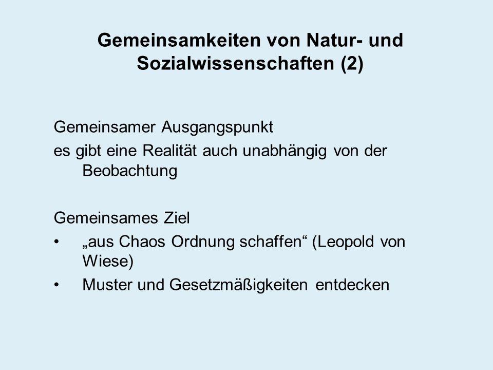 Gemeinsamkeiten von Natur- und Sozialwissenschaften (2) Gemeinsamer Ausgangspunkt es gibt eine Realität auch unabhängig von der Beobachtung Gemeinsame