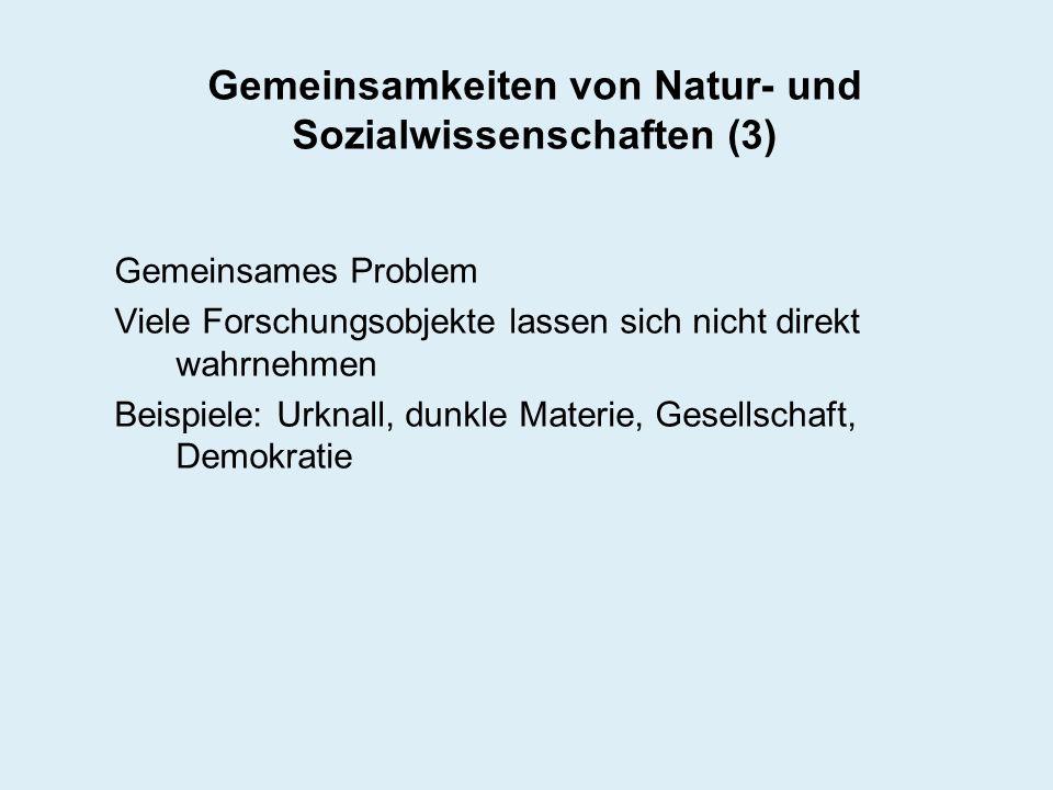 Gemeinsamkeiten von Natur- und Sozialwissenschaften (3) Gemeinsames Problem Viele Forschungsobjekte lassen sich nicht direkt wahrnehmen Beispiele: Urk