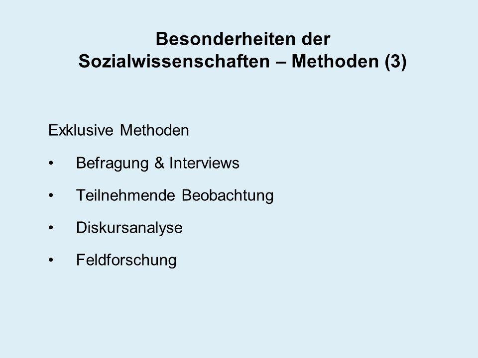 Besonderheiten der Sozialwissenschaften – Methoden (3) Exklusive Methoden Befragung & Interviews Teilnehmende Beobachtung Diskursanalyse Feldforschung