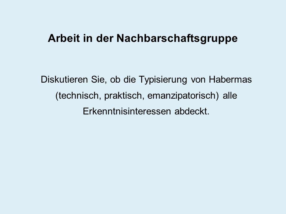 Arbeit in der Nachbarschaftsgruppe Diskutieren Sie, ob die Typisierung von Habermas (technisch, praktisch, emanzipatorisch) alle Erkenntnisinteressen