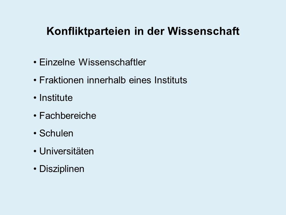 Konfliktparteien in der Wissenschaft Einzelne Wissenschaftler Fraktionen innerhalb eines Instituts Institute Fachbereiche Schulen Universitäten Diszip