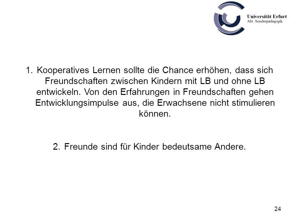24 1.Kooperatives Lernen sollte die Chance erhöhen, dass sich Freundschaften zwischen Kindern mit LB und ohne LB entwickeln. Von den Erfahrungen in Fr