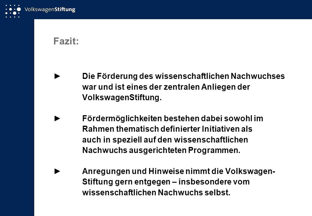 Fazit: Die Förderung des wissenschaftlichen Nachwuchses war und ist eines der zentralen Anliegen der VolkswagenStiftung.