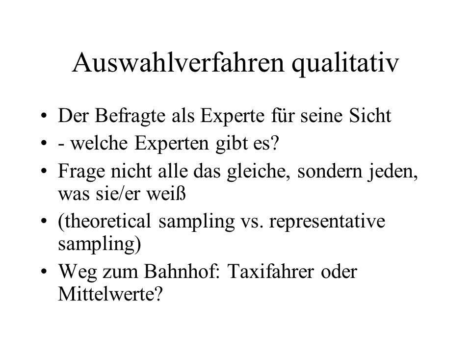 Auswahlverfahren qualitativ Der Befragte als Experte für seine Sicht - welche Experten gibt es.