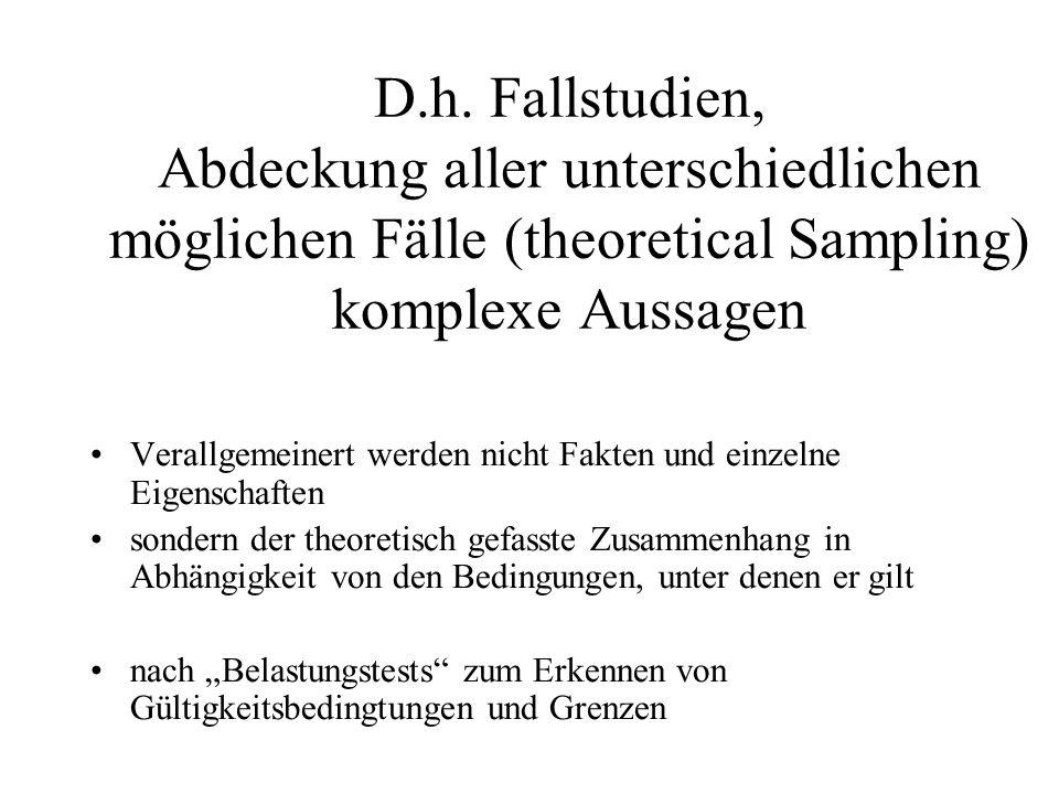 D.h. Fallstudien, Abdeckung aller unterschiedlichen möglichen Fälle (theoretical Sampling) komplexe Aussagen Verallgemeinert werden nicht Fakten und e