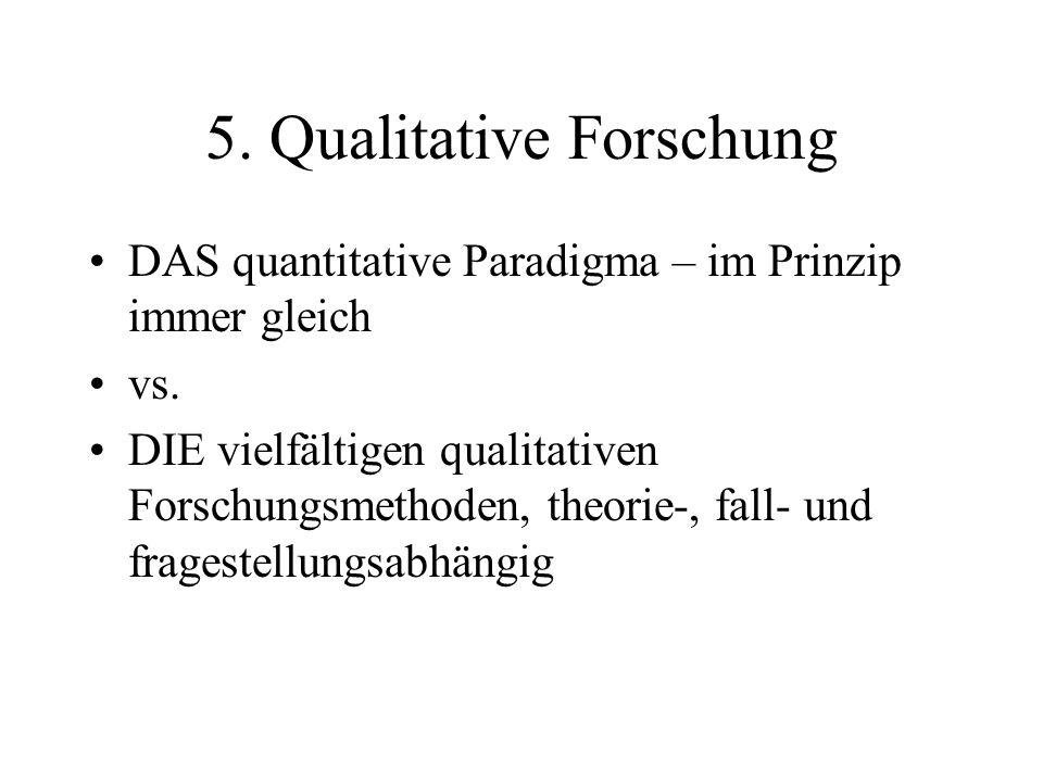 5.Qualitative Forschung DAS quantitative Paradigma – im Prinzip immer gleich vs.
