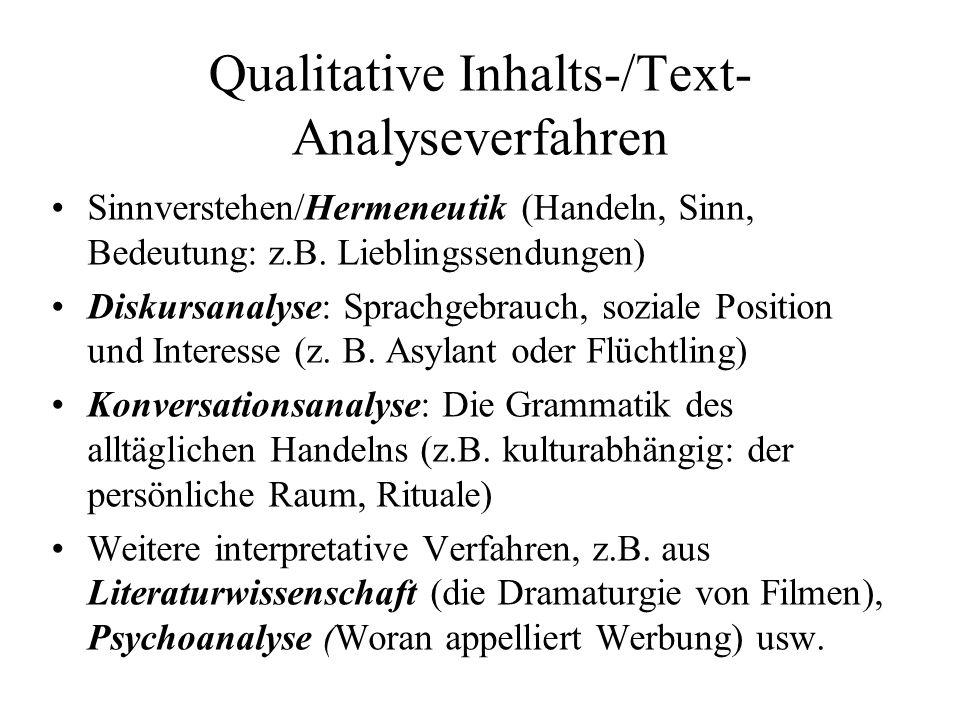 Qualitative Inhalts-/Text- Analyseverfahren Sinnverstehen/Hermeneutik (Handeln, Sinn, Bedeutung: z.B.