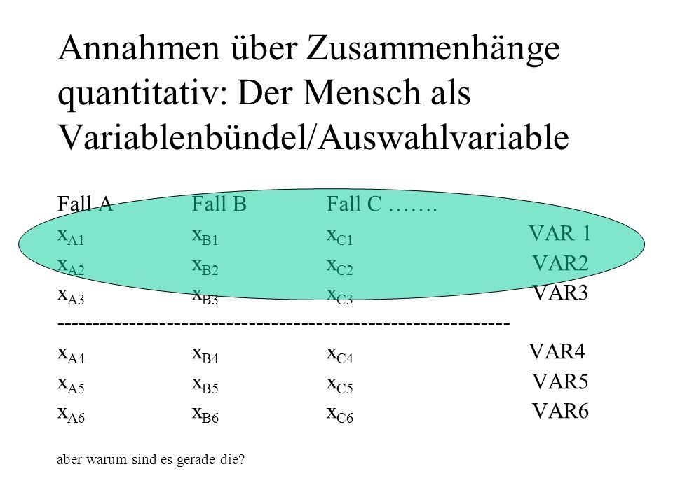 Annahmen über Zusammenhänge quantitativ: Der Mensch als Variablenbündel/Auswahlvariable Fall A Fall B Fall C …….