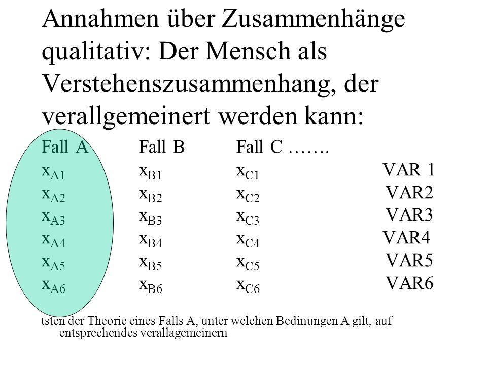 Annahmen über Zusammenhänge qualitativ: Der Mensch als Verstehenszusammenhang, der verallgemeinert werden kann: Fall A Fall B Fall C …….
