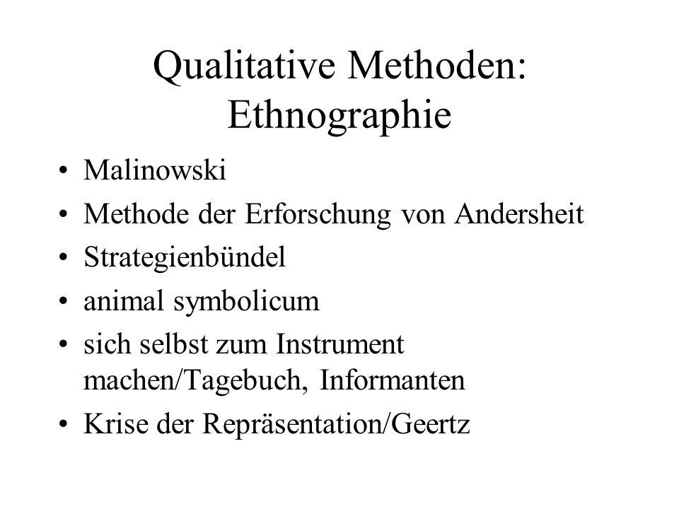 Qualitative Methoden: Ethnographie Malinowski Methode der Erforschung von Andersheit Strategienbündel animal symbolicum sich selbst zum Instrument machen/Tagebuch, Informanten Krise der Repräsentation/Geertz