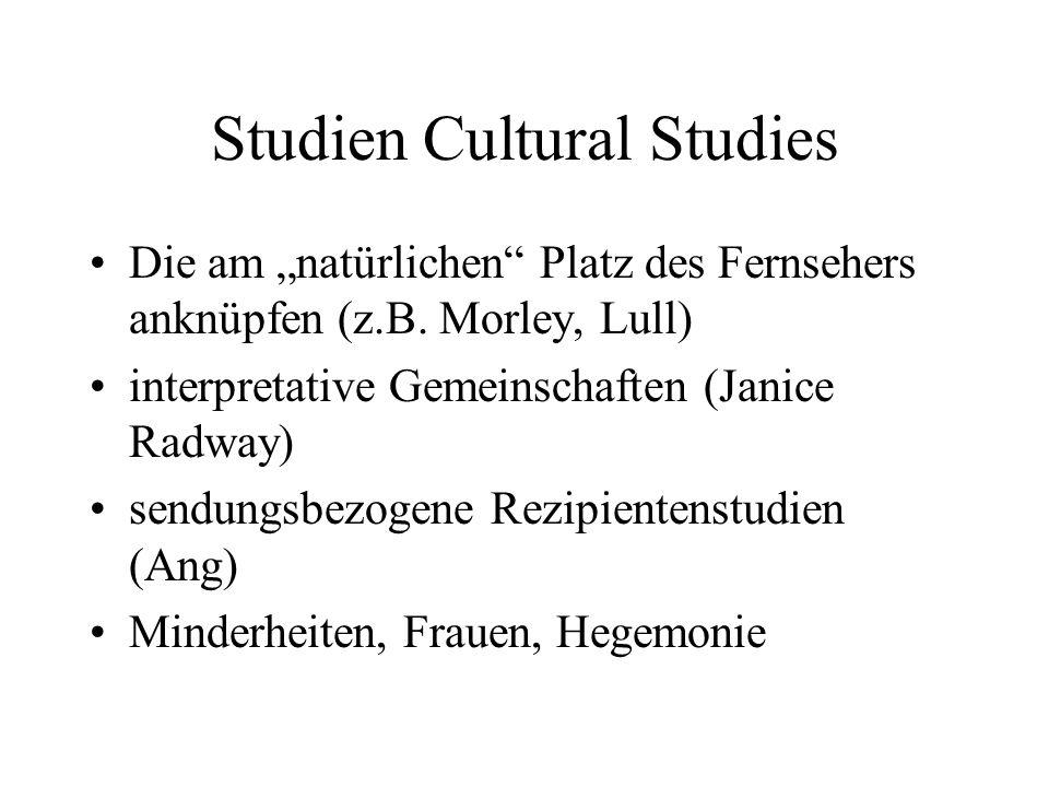 Studien Cultural Studies Die am natürlichen Platz des Fernsehers anknüpfen (z.B.