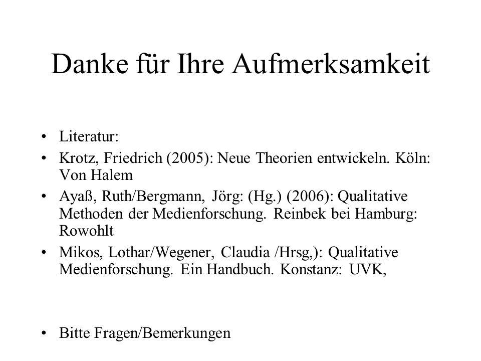 Danke für Ihre Aufmerksamkeit Literatur: Krotz, Friedrich (2005): Neue Theorien entwickeln.