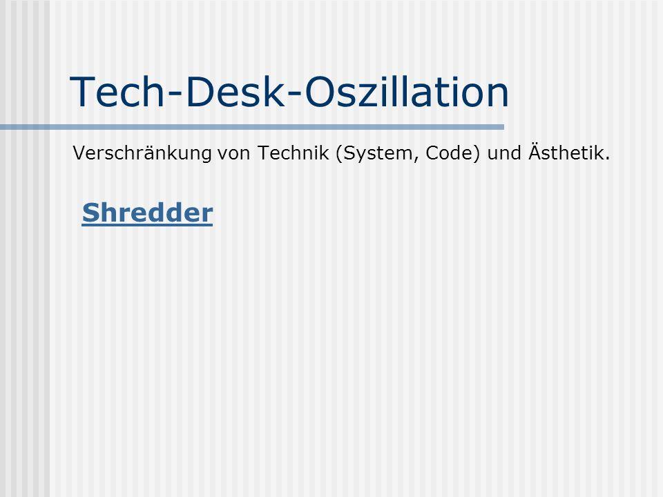 Tech-Desk-Oszillation Verschränkung von Technik (System, Code) und Ästhetik. Shredder