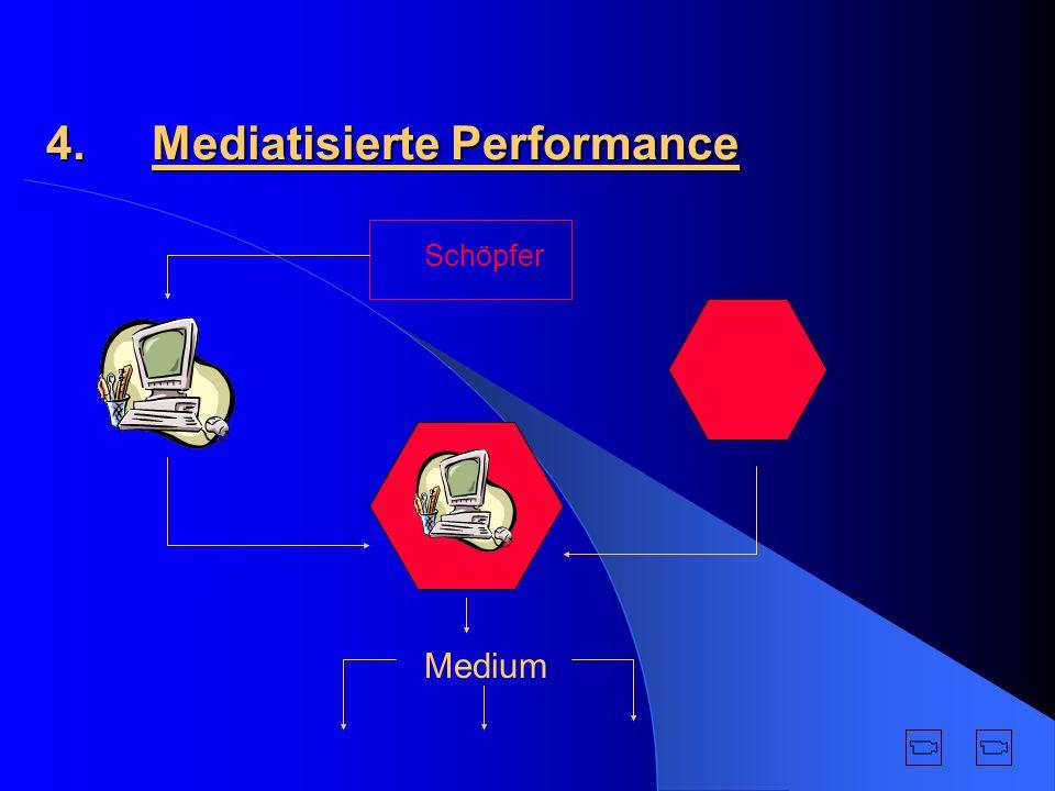 Mediatisierte Performance ist nicht unvorhersehbar Zeit in Performance nicht real existent Keine physische Anwesenheit Aktionen entstehen durch elektronische Stellvertreter Erweiterung von Darstellungsmöglichkeiten