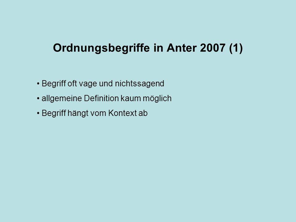 Ordnungsbegriffe in Anter 2007 (1) Begriff oft vage und nichtssagend allgemeine Definition kaum möglich Begriff hängt vom Kontext ab