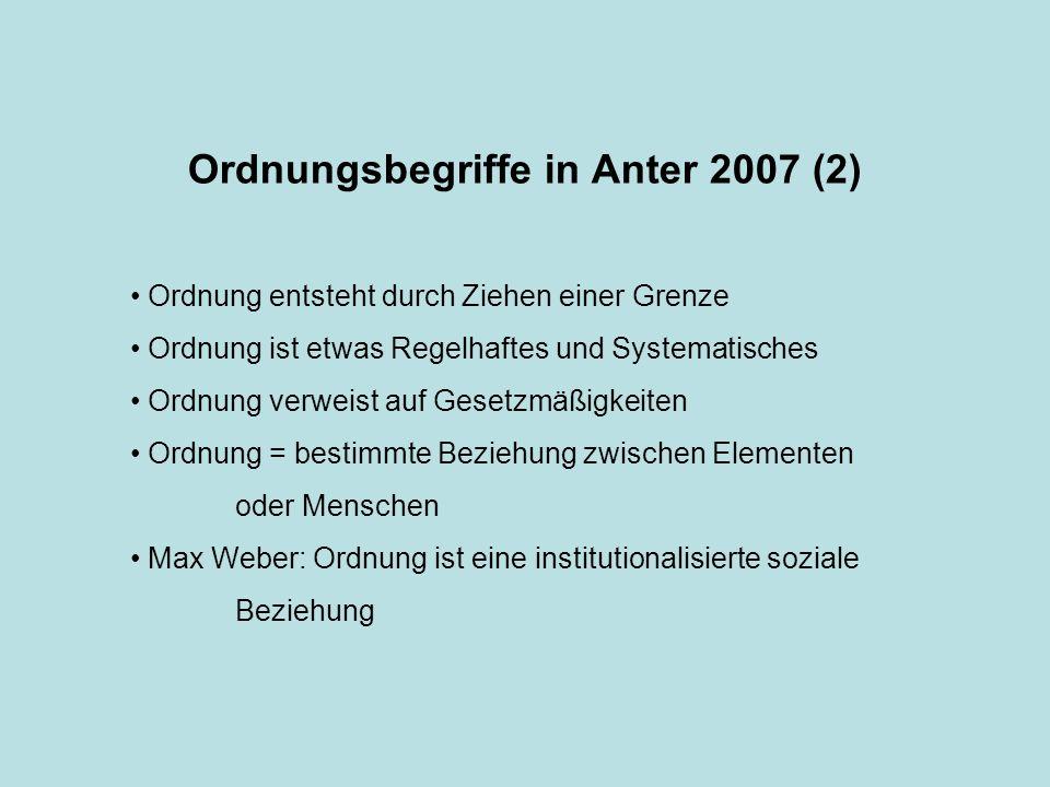 Ordnungsbegriffe in Anter 2007 (2) Ordnung entsteht durch Ziehen einer Grenze Ordnung ist etwas Regelhaftes und Systematisches Ordnung verweist auf Gesetzmäßigkeiten Ordnung = bestimmte Beziehung zwischen Elementen oder Menschen Max Weber: Ordnung ist eine institutionalisierte soziale Beziehung