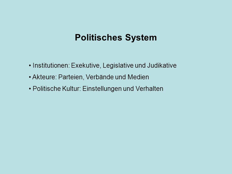 Politisches System Institutionen: Exekutive, Legislative und Judikative Akteure: Parteien, Verbände und Medien Politische Kultur: Einstellungen und Verhalten
