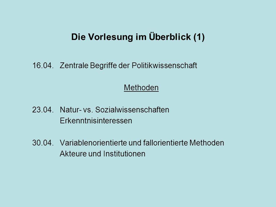 Die Vorlesung im Überblick (1) 16.04.Zentrale Begriffe der Politikwissenschaft Methoden 23.04.Natur- vs. Sozialwissenschaften Erkenntnisinteressen 30.