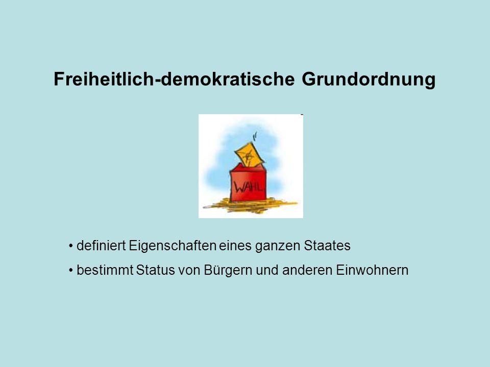 Freiheitlich-demokratische Grundordnung definiert Eigenschaften eines ganzen Staates bestimmt Status von Bürgern und anderen Einwohnern