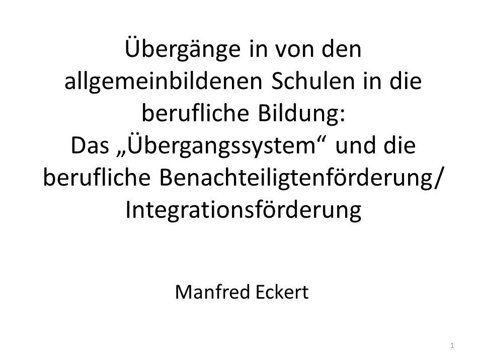 22 Links und Literatur Berufsbildung im Umbruch von Martin Baethge ; Heike Solga ; Markus Wieck: http://library.fes.de/pdf-files/stabsabteilung/04258/ http://library.fes.de/pdf-files/stabsabteilung/04258/ Berufsbildungsbericht: http://www.bmbf.de/pub/bbb_2010.pdf Berufliche Qualifizierung Jugendlicher mit besonderem Förderbedarf - Benachteiligtenförderung – (BMBF): http://www.bmbf.de/pub/berufliche_qualifizierung_jugendlicher.pdf http://www.bmbf.de/pub/berufliche_qualifizierung_jugendlicher.pdf Lippegaus-Grünau u.a.