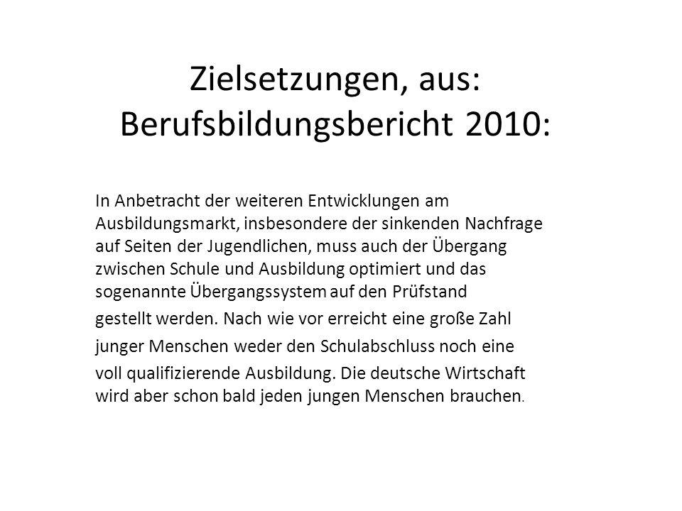Zielsetzungen, aus: Berufsbildungsbericht 2010: In Anbetracht der weiteren Entwicklungen am Ausbildungsmarkt, insbesondere der sinkenden Nachfrage auf