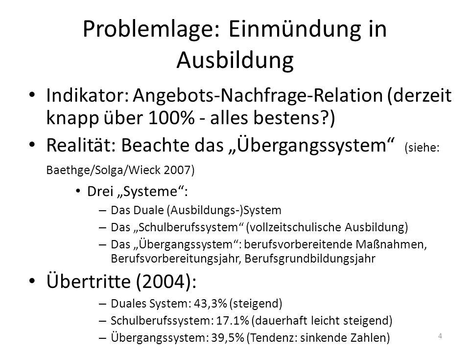 4 Problemlage: Einmündung in Ausbildung Indikator: Angebots-Nachfrage-Relation (derzeit knapp über 100% - alles bestens?) Realität: Beachte das Überga
