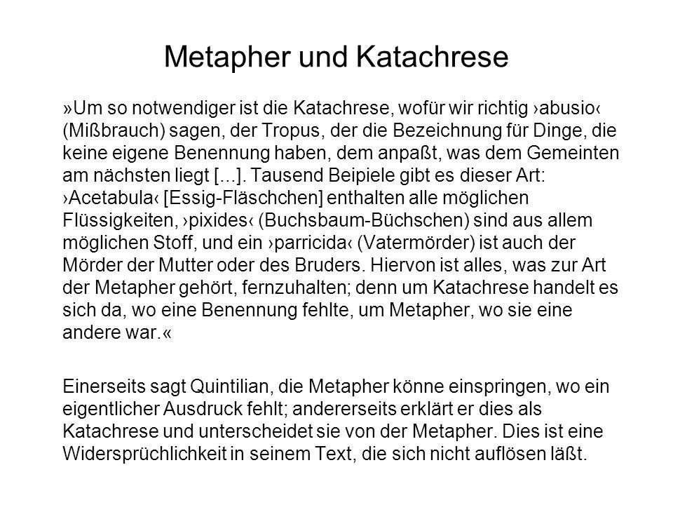 Metapher und Katachrese »Um so notwendiger ist die Katachrese, wofür wir richtig abusio (Mißbrauch) sagen, der Tropus, der die Bezeichnung für Dinge,