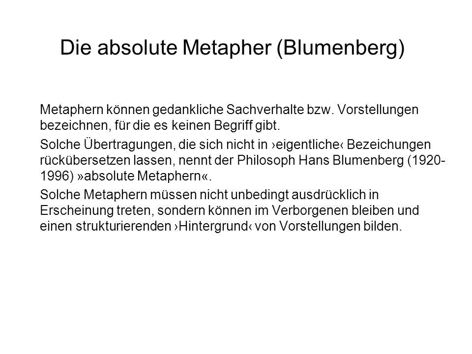 Die absolute Metapher (Blumenberg) Metaphern können gedankliche Sachverhalte bzw. Vorstellungen bezeichnen, für die es keinen Begriff gibt. Solche Übe