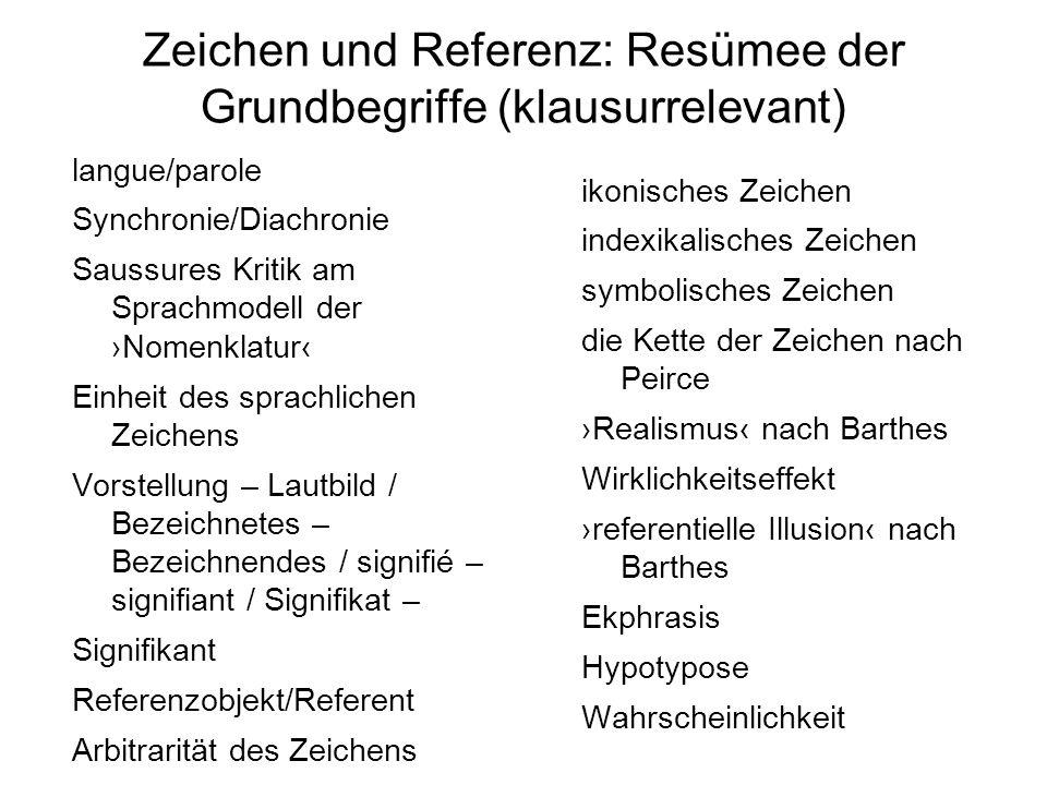 Zeichen und Referenz: Resümee der Grundbegriffe (klausurrelevant) langue/parole Synchronie/Diachronie Saussures Kritik am Sprachmodell der Nomenklatur