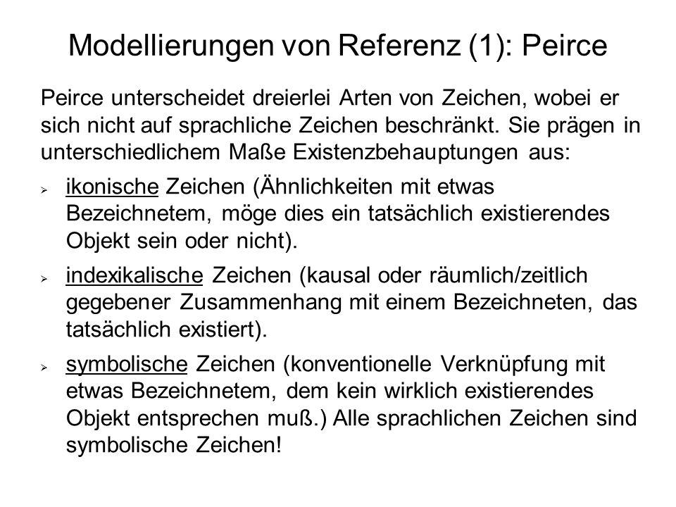 Modellierungen von Referenz (1): Peirce Peirce unterscheidet dreierlei Arten von Zeichen, wobei er sich nicht auf sprachliche Zeichen beschränkt. Sie