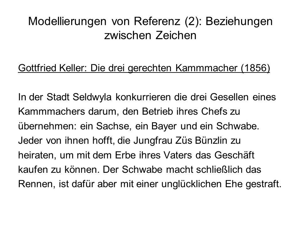 Modellierungen von Referenz (2): Beziehungen zwischen Zeichen Gottfried Keller: Die drei gerechten Kammmacher (1856) In der Stadt Seldwyla konkurriere