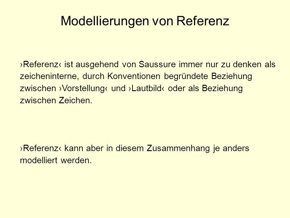 Modellierungen von Referenz Referenz ist ausgehend von Saussure immer nur zu denken als zeicheninterne, durch Konventionen begründete Beziehung zwisch