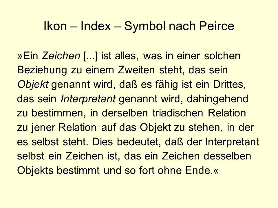 Ikon – Index – Symbol nach Peirce »Ein Zeichen [...] ist alles, was in einer solchen Beziehung zu einem Zweiten steht, das sein Objekt genannt wird, d