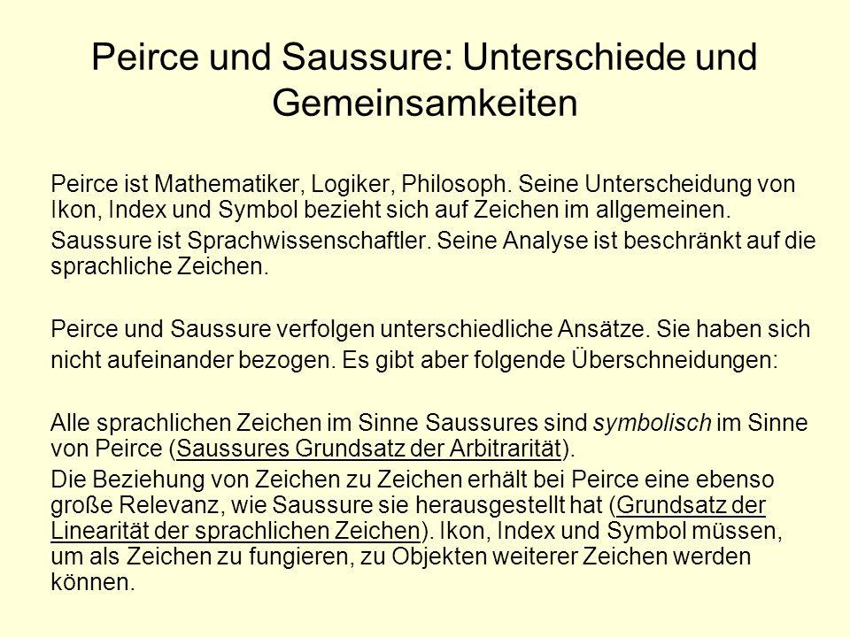 Peirce und Saussure: Unterschiede und Gemeinsamkeiten Peirce ist Mathematiker, Logiker, Philosoph. Seine Unterscheidung von Ikon, Index und Symbol bez