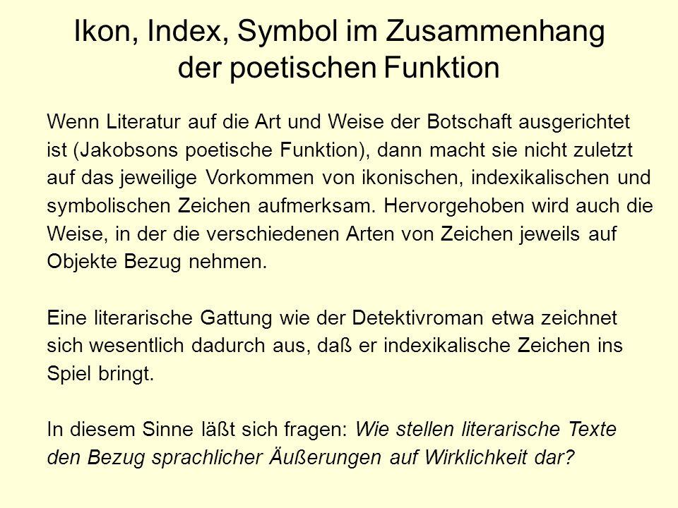 Ikon, Index, Symbol im Zusammenhang der poetischen Funktion Wenn Literatur auf die Art und Weise der Botschaft ausgerichtet ist (Jakobsons poetische F