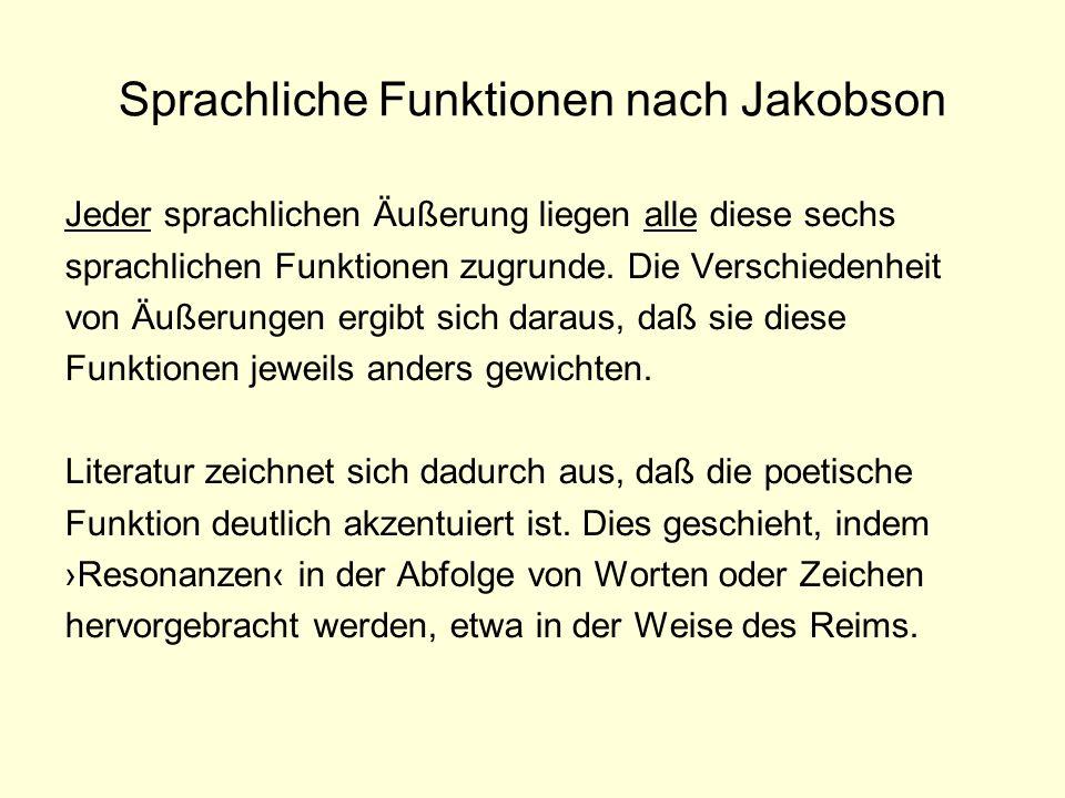 Die poetische Funktion nach Jakobson »Die poetische Funktion projiziert das Prinzip der Äquivalenz von der Achse der Selektion auf die Achse der Kombination.