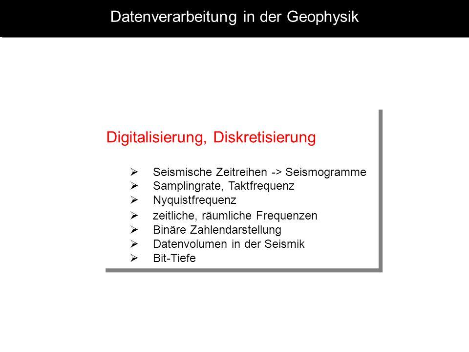 Datenverarbeitung in der Geophysik Digitalisierung, Diskretisierung Seismische Zeitreihen -> Seismogramme Samplingrate, Taktfrequenz Nyquistfrequenz z