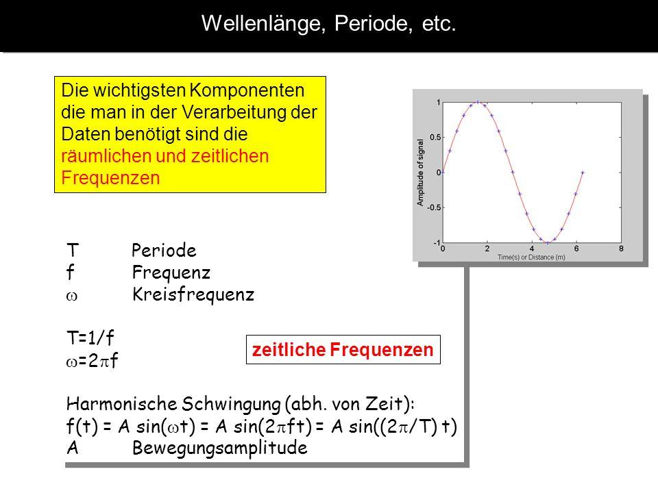 Wellenlänge, Periode, etc. Die wichtigsten Komponenten die man in der Verarbeitung der Daten benötigt sind die räumlichen und zeitlichen Frequenzen T