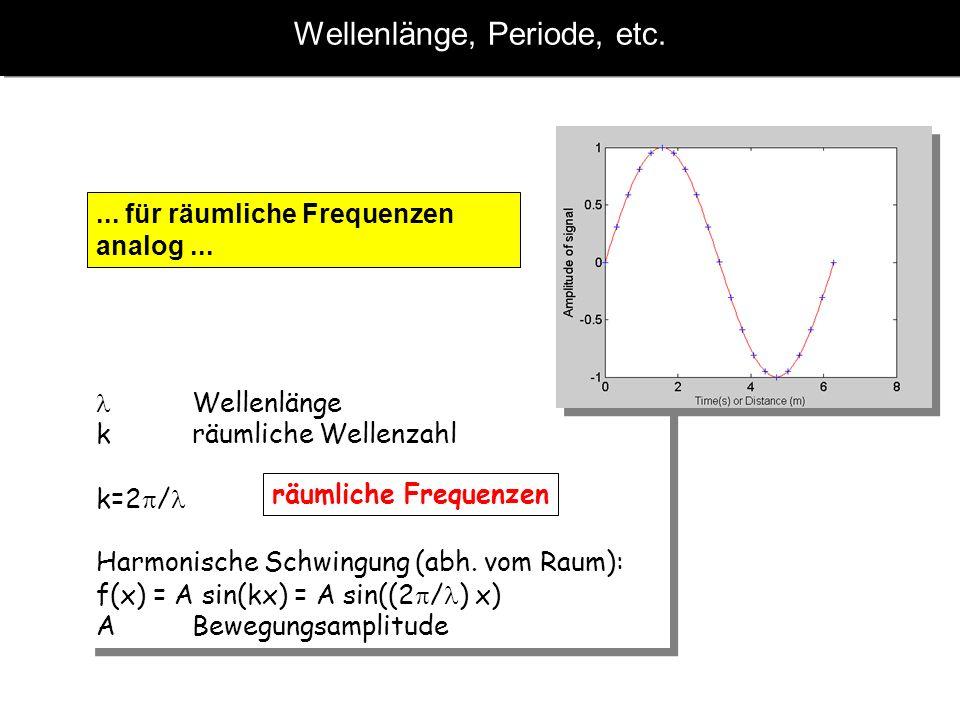Wellenlänge, Periode, etc.... für räumliche Frequenzen analog... Wellenlänge kräumliche Wellenzahl k=2 / Harmonische Schwingung (abh. vom Raum): f(x)